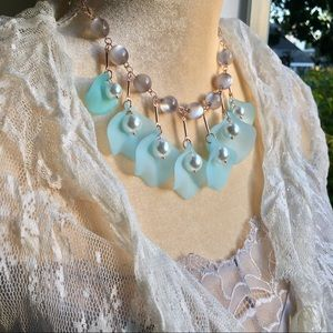 Blue blossoms, pearls, & grey bead necklace NWT